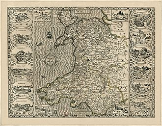 Flint, Flintshire - John Speed's map of Wales, made in 1610. The town of Flint can be seen at the top right