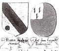 Wappen des Pieter Meeuws Soossensz Bicker (1430-1476) und der Aeltgen Eggert.jpg