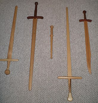 Waster - From the left: arming sword, longsword, rondel, longsword, falchion