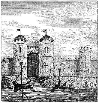 Watergate (architecture) - A 19th-century image of the long-demolished Water Gate at Bristol Castle, England