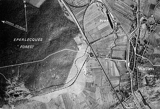 Blockhaus d'Éperlecques - Annotated aerial view of the Watten–Éperlecques area.