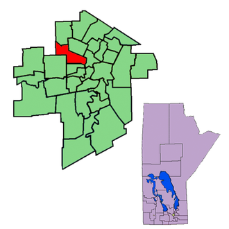 Wellington (Manitoba provincial electoral district) - The 1999-2011 boundaries for Wellington highlighted in red