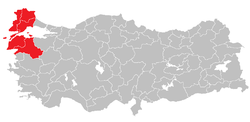 Location of West Marmara Region