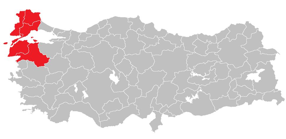 Location of West Marmara Region
