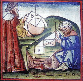 Westerner and Arab practicing geometry 15th century manuscript