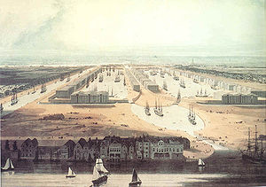West India Docks - An 1802 painting of the completed docks. The canal to the left of the painting was later closed and became a third dock. The view is looking west towards the City of London.
