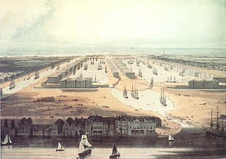 West India Docks Historic dock site, now part of Canary Wharf area.