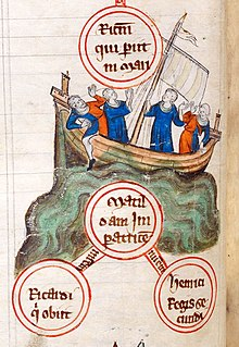 A medieval picture of a sinking ship