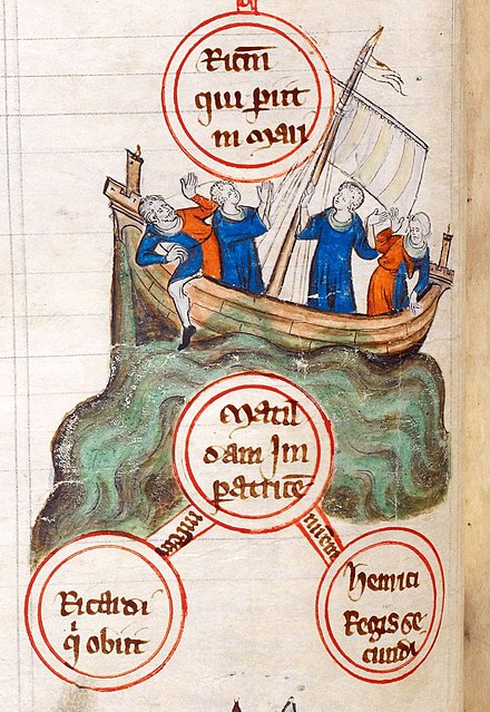 An early 14th-century depiction of the White Ship sinking in 1120 WhiteShipSinking.jpg