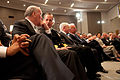 White House Chief of Staff William Daley, Chairman of the Joint Chiefs Admiral Michael Mullen, Defense Secretary Robert Gates, and Vice President Joe Biden at the National Defense University.jpg