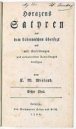 Titelseite von Band 1 der Übersetzung der Satiren von Horaz (Quelle: Wikimedia)