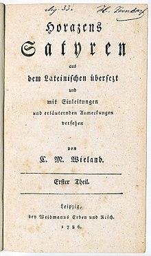 Titelseite von Band 1 der Übersetzung der horazischen Satyren (Quelle: Wikimedia)