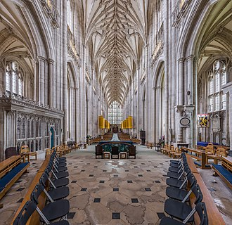 Winchester Cathedral - The nave looking towards the stained glass above the western door