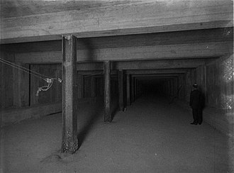 Winter Street Concourse - Upper level of the under-construction Winter Street Tunnel in July 1913