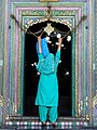 Woman Grasps Chain at Entrance - Khanqah Shah-i-Hamadan - Wooden Mosque - Old City - Srinagar - Jammu & Kashmir - India (26743508662).jpg