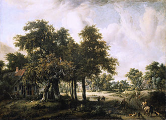 Meindert Hobbema - Wooded Landscape with Farmsteads, c. 1665, Mauritshuis, The Hague