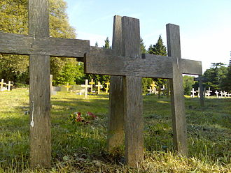 St Pancras and Islington Cemetery - Wooden crosses