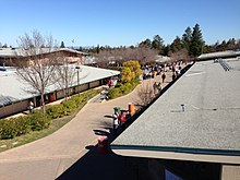 Woodside High School, from library deck looking toward main quad, Feb 14, 2013.JPG