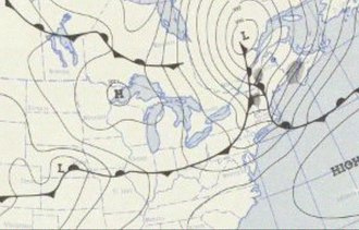 1953 Worcester tornado - Air pressure map of the New England Region, June 9, 1953.