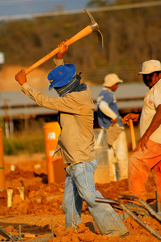 Blue-collar worker - A manual laborer at work in Venezuela.