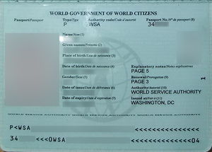 World Passport - Data page of the World Passport.