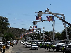 Yarnell Hill Fire - The funeral procession honoring the 19 firefighters killed passes through Yarnell.