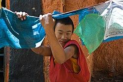 Young Monk in Shalu Monastery Shigatse Tibet Luca Galuzzi 2006.jpg