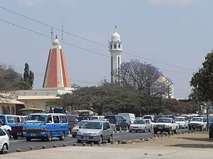 Religion in Zambia - Hindu temple and Mosque in Lusaka Province.