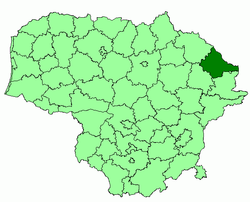 Location of Zarasai district municipality within Lithuania