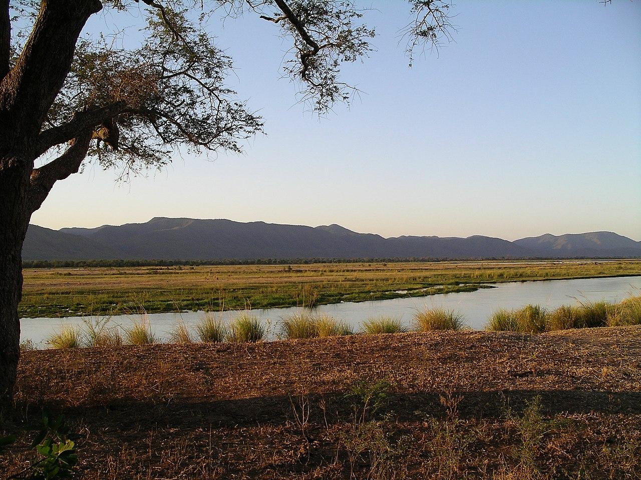 Sungai Zambezi di Taman Nasional Mana Pools.