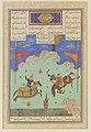 """The Fifth Joust of the Rooks- Ruhham Versus Barman"", Folio 342v from the Shahnama (Book of Kings) of Shah Tahmasp MET DP120255.jpg"