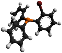 Ball-and-stick model of the (2-bromophenyl)diphenylphosphine molecule