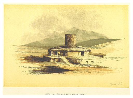 (BL) OSSETIAN FARM, WITH WATCH-TOWER