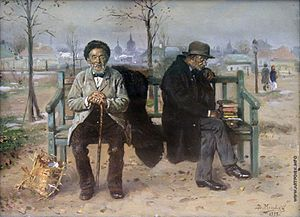 Optimism - An optimist and a pessimist, Vladimir Makovsky, 1893