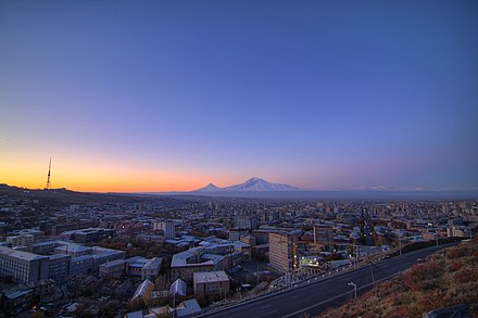 Yerevan is situated at the northeast of the Ararat plain.