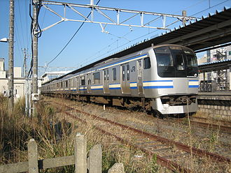 "Uchibō Line - An E217 series EMU on a ""Rapid"" service in December 2013"