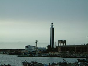 Wanggong Fishing Port - The Fangyuan Lighthouse located nearby the port.