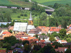 Town center of Scheßlitz with the Church of Saint Kilian