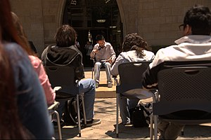 World Book Day - Forum on reading aloud held outside the campus library at the Monterrey Institute of Technology and Higher Education, Mexico City for the occasion