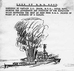Battle of the Denmark Strait - A sketch prepared by Captain JC Leach (commanding HMS Prince of Wales) for the 2nd Board of Enquiry, 1941. The sketch represents the column of smoke or flame that erupted from the vicinity of the mainmast immediately before a huge detonation which obliterated the after part of the ship from view. This phenomenon is believed to have been the result of a cordite fire venting through the engine-room ventilators (see article).