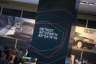 North American International Auto Show - Image: 07NAIAS Detroit coordinates sign