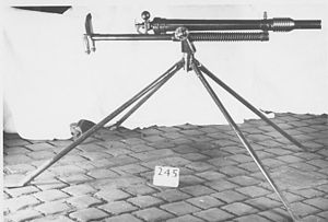 1.59-inch Breech-Loading Vickers Q.F. Gun, Mk II - The gun is seen here displayed on a non-standard mounting in 1917
