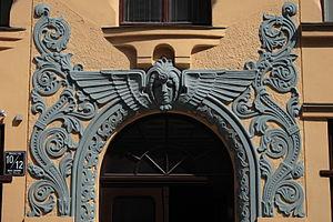 Cat House, Riga - Image: 10 12 Meistaru Street detail
