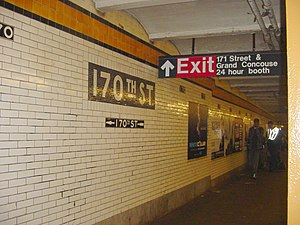 170th Street (IND Concourse Line) - Southbound station platform