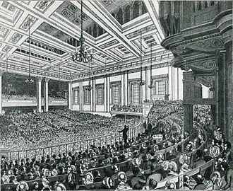 Anti-Corn Law League - A meeting of the Anti-Corn Law League in Exeter Hall in 1846