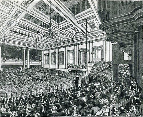 A meeting of the Anti-Corn Law League in Exeter Hall in 1846 1846 - Anti-Corn Law League Meeting.jpg