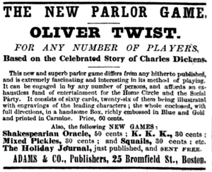 "Parlour game - A Christmas 1867 advertisement for a parlor game called ""Oliver Twist,"" issued by Adams & Co. of Boston and based on the story by Charles Dickens."