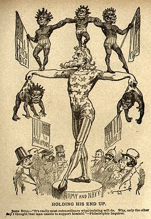 "American imperialism - In 1899 Uncle Sam balances his new possessions which are depicted as savage children. The figures are Puerto Rico, Hawaii, Cuba, Philippines and ""Lad robes"" (the Mariana Islands)."