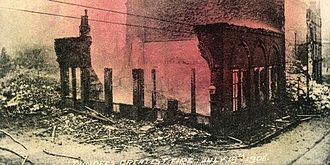 1906 Dundee fire - A hand-coloured postcard depicting the fire.