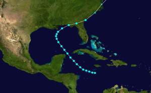 1907 Atlantic hurricane season - Image: 1907 Atlantic tropical storm 1 track